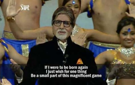 Amitabh Bachchan reciting a poem on cricket written by Prasoon Joshi during the opening ceremony.